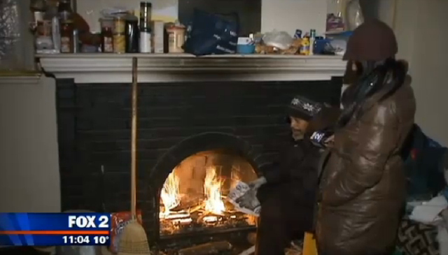 detroit man burns woods to stay warm