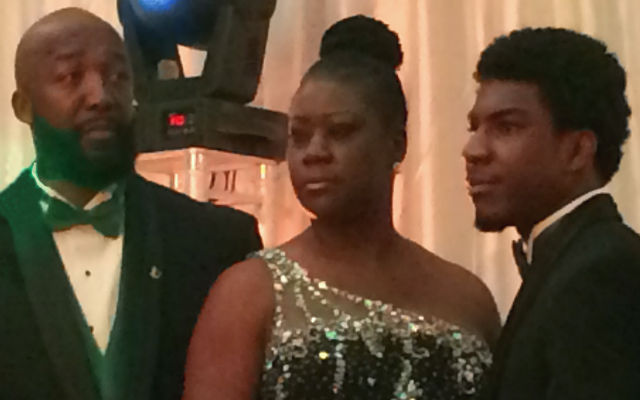 Family of Trayvon Martin, Feb. 9, 2014 in Davie, FL. From left: Tracy Martin, Sybrina Fulton and Jahvaris Fulton. (Sheryl Huggins Salomon)