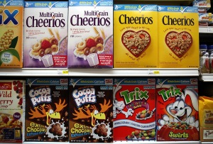 Rows of different types of cereals at a grocery store