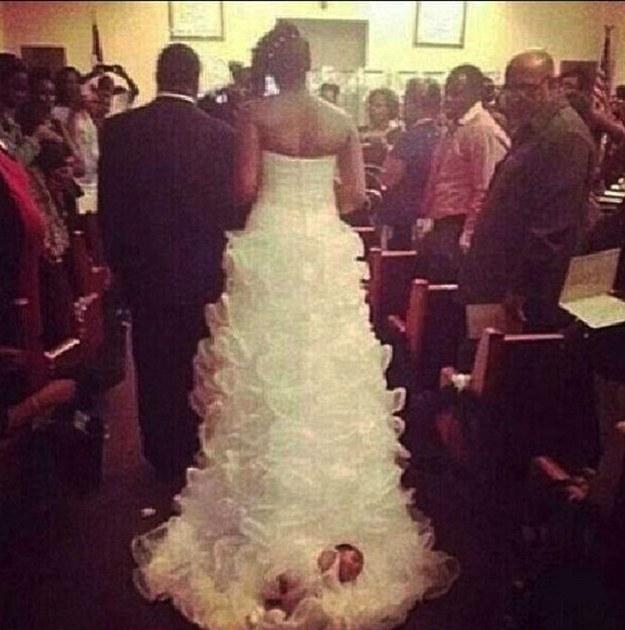 Shona Carter-Brooks baby on wedding dress