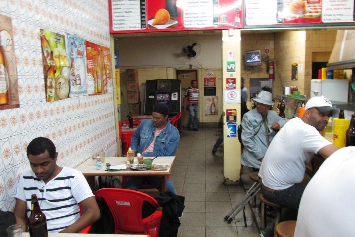 Mark Tranae at a café in Sao Paulo