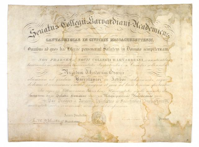richard greener harvard degree auction