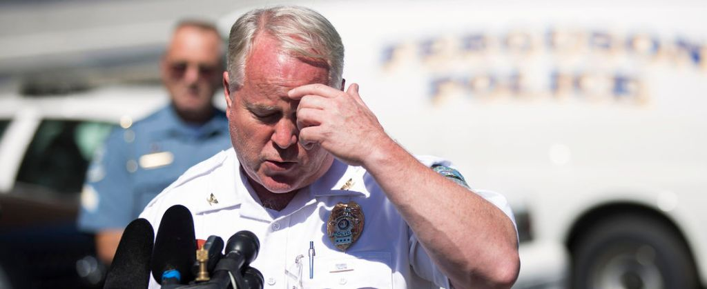Police Chief Thomas Jackson speaks during a news conference in Ferguson