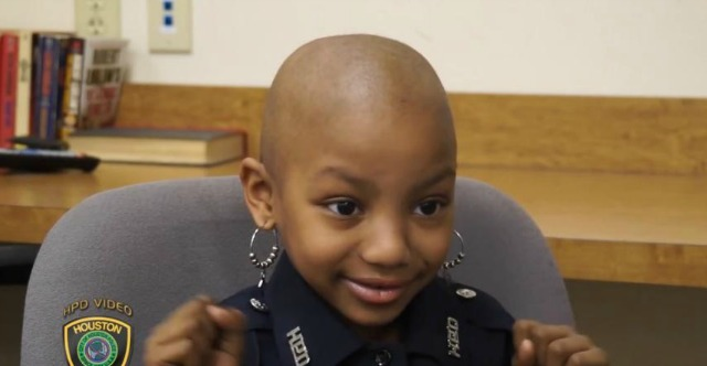 terminally ill six year old girl becomes honorary police officer in houston