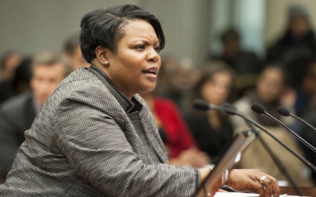 Public Schools Chancellor Kaya Henderson speaks before the DC Council and the public about her reasons for proposing to close 20 schools at the Wilson Building Thursday, November 15, 2012 in Washington, DC.(Photo by Katherine Frey/The Washington Post via Getty Images)