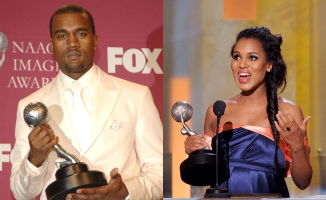 Kanye West and Kerry Washington NAACP Image Award Wins (Getty Images)