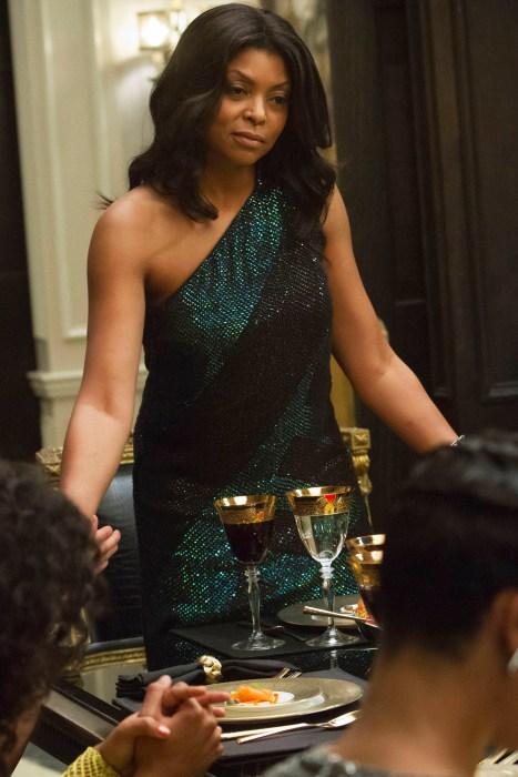 Cookie sports a hand-detailed Gucci sequin evening dress at dinner (Chuck Hodes/FOX)