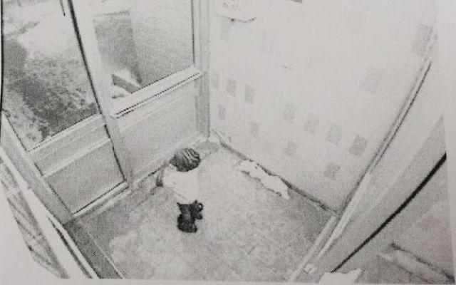 Surveillance footage shows a child resembling Elijah Marsh, 3, leaving home. (Toronto Police)