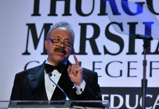 Educationall Leadership Award Recipient, President of Hampton University Dr. William R. Harvey speaks on stage the Thurgood Marshall College Fund 26th Awards Gala at Washington Hilton on November 12, 2014 in Washington, DC. (Photo by Larry French/Getty Images for Thurgood Marshall College Fund)