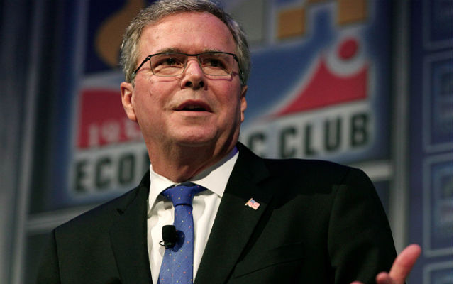 Former Florida Governor Jeb Bush speaks at the Detroit Economic Club February 4, 2015 in Detroit, Michigan. Bush, the son of former republican President George H.W. Bush and the brother of former republican President George W. Bush, is considering becoming a republican candidate for the 2016 presidential election. (Photo by Bill Pugliano/Getty Images)