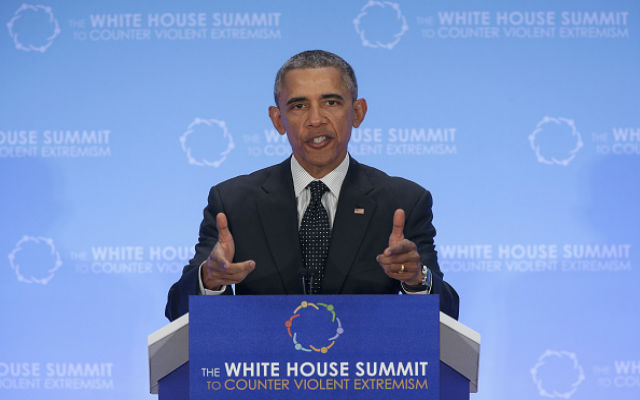 President Barack Obama addresses the White House Summit on Countering Violent Extremism February 19, 2015 in Washington, DC. Obama's remarks focused on countering the adoption of the world's youth to extremist ideologies. (Photo by Win McNamee/Getty Images)