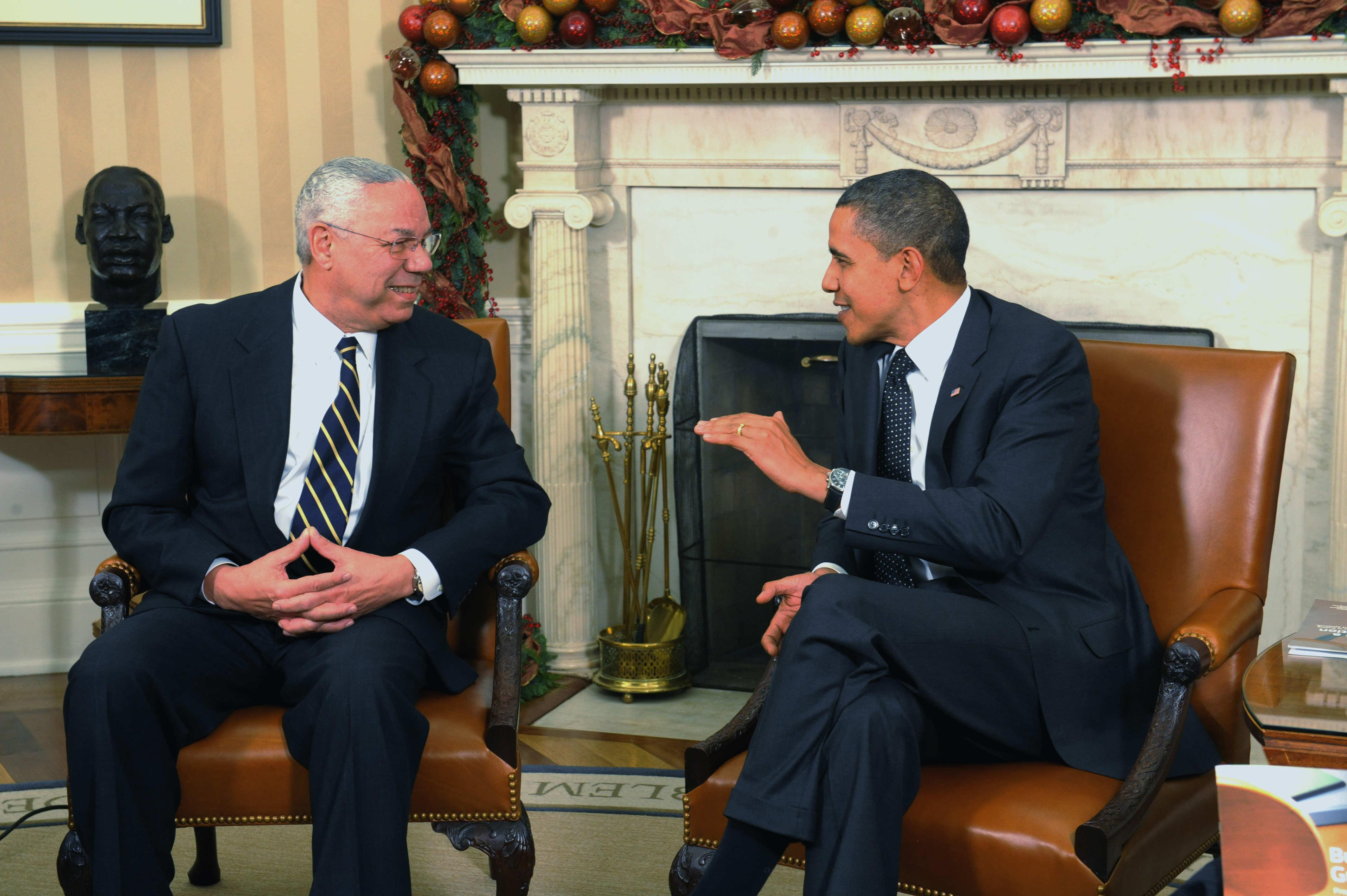 Former Chairman Joint Chiefs Of Staff Colin Powell Meets With President Obama and Vice President Biden In Oval Office