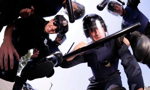Police in riot gear