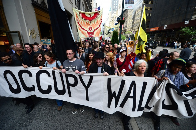 Occupy Wall Street participants march do