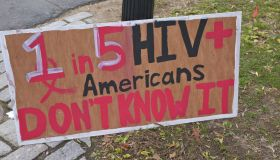HIV awareness sign for World AIDS Day Awareness at Princeton University, Princeton, NJ, USA