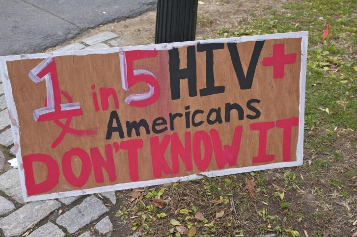 HIV awareness sign for World AIDS Day Awareness at Princeton University, Princeton, NJ, USA
