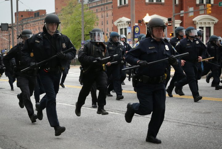 Police in motion