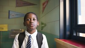 African-American School Boy with Backpack
