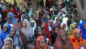 Nigerian people fleeing from clashes in Maiduguri