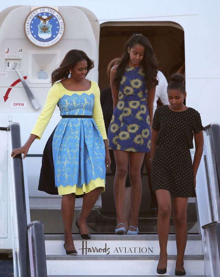 First Lady Michelle Obama with daughters Malia Obama and Sasha Obama