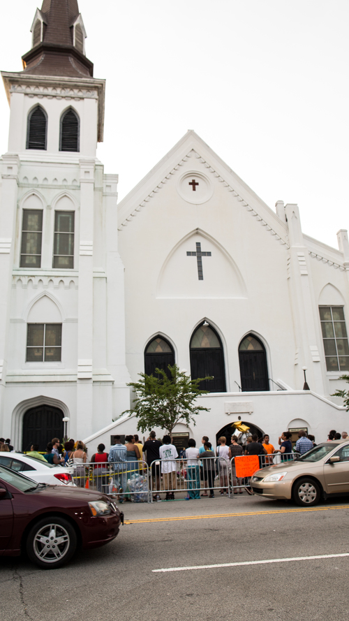 Mother Emanuel AME Church held its first service since the shooting death of nine African-American church members on June 17.