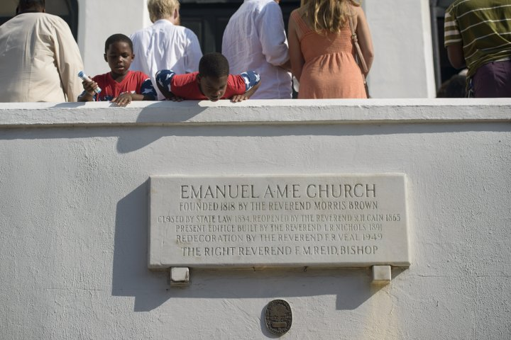 Two children wait to enter the Emanuel AME Church June 21, 2015 in Charleston, South Carolina.