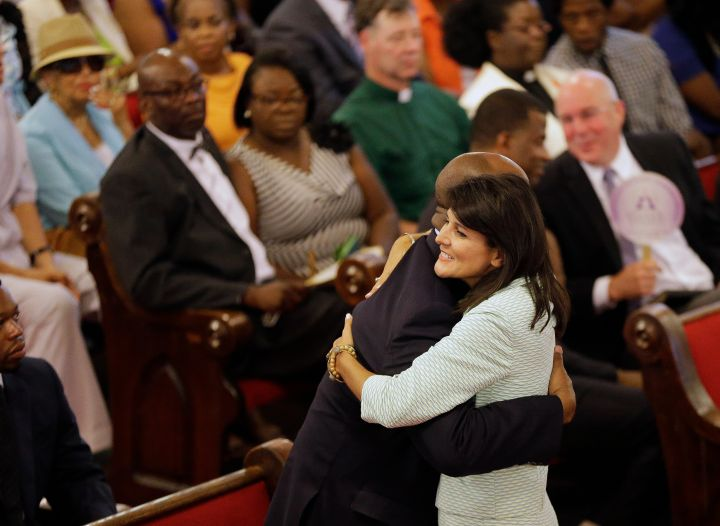 South Carolina Gov. Nikki Haley, R-S.C., embraces U.S. Sen Tim Scott, R-S.C., at Emanuel AME Church.