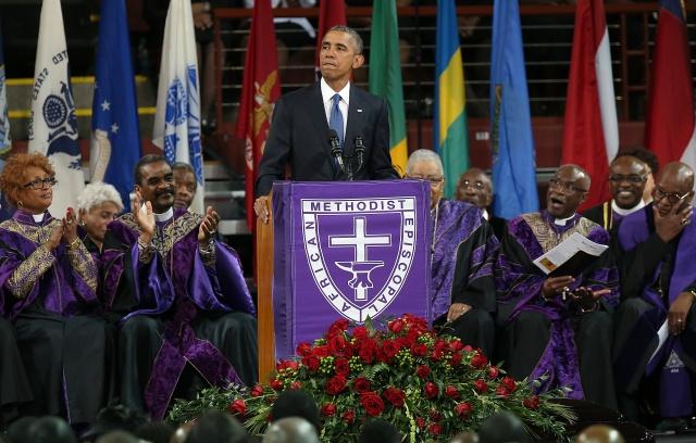 Barack Obama at Clementa Pinckney's funeral
