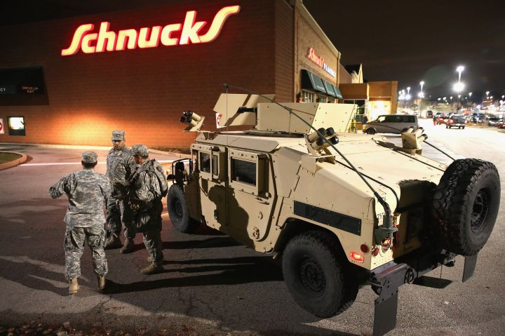 2014: Army tanks filled the streets of Ferguson after protests turned violent in the city.