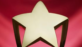 close up of gold star trophy