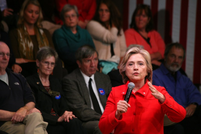Democratic presidential nominee Hillary Clinton speaks...