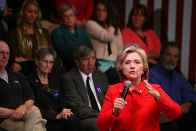 Democratic presidential nominee Hillary Clinton speaks...