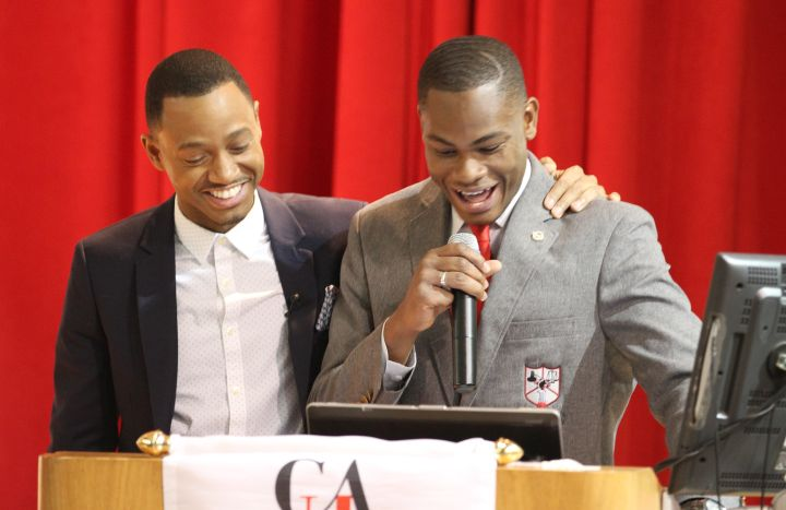 Actor, philanthropist and HBCU alumni Terrence 'J' Jenkins, along with Clark Atlanta University student Adrain Artary at the My Life, My Story, #MyUntold℠ Town Hall on November 10, 2015 at the Atlanta University Center Consortium.