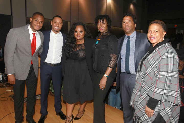 Actor, philanthropist and HBCU alumni Terrence 'J' Jenkins moderates the Wells Fargo My Life, My Story, #MyUntold℠ Town Hall on November 10, 2105 for students at Clark Atlanta University, Morehouse College and Spelman College. Terrence J is joined by Clark Atlanta University student Adrain Artary and event panelists (left to right): Natasha Eubanks, Founder and CEO, TheYBF.com; Lisa Frison, vice president, African American segment manager, Wells Fargo; and Richard Shropshire, Vice President of Branding, Marketing and Communications, United Negro College Fund (UNCF) along with the Dean of Students of Clark Atlanta University, Ernita Hemmitt.