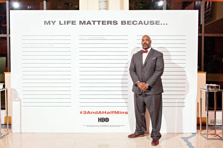 "The interactive ""My Life Matters Because"" Art Wall inside the Schomburg Center in Harlem"
