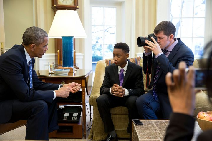 "FEBRUARY: President Barack Obama talks with 13-year-old student Vidal Chastanet as ""Humans of New York"" founder Brandon Stanton photographs during a blog interview in the Oval Office. Obama was greatly inspired by Chastanet's comments on the popular ""Humans of New York"" Instagram page, where he shared his troubles finding courage in school and and life despite living in a dangerous area of Brooklyn, NY."
