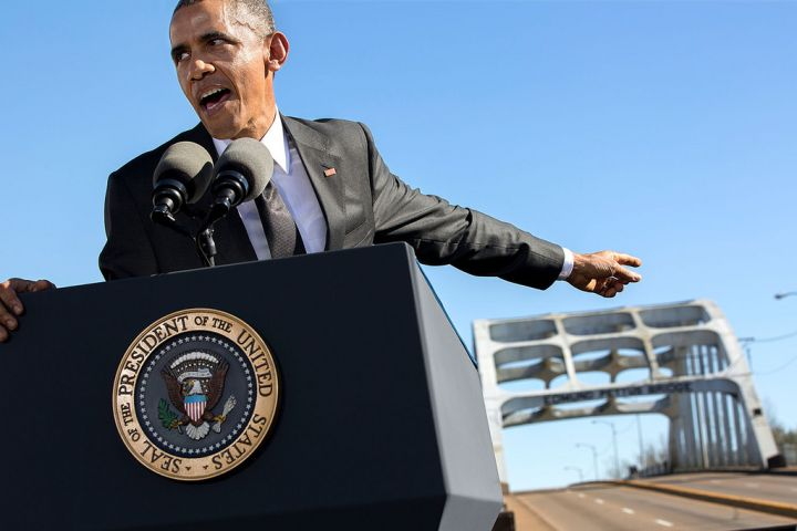 MARCH: President Barack Obama delivers remarks during the event to commemorate the 50th Anniversary of Bloody Sunday and the Selma to Montgomery civil rights marches at the Edmund Pettus Bridge in Selma, Ala.