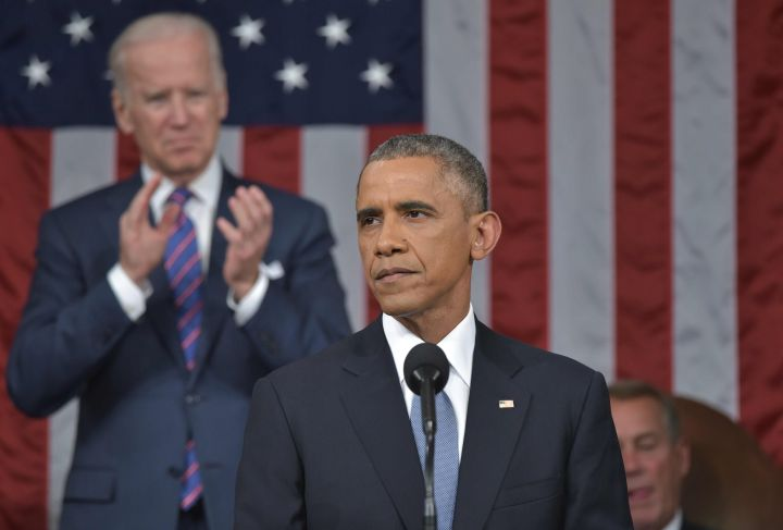 JANUARY: President Obama delivers the State of the Union address with the support of vice president Joe Biden. Obama gained mass support after his joke about winning both terms.