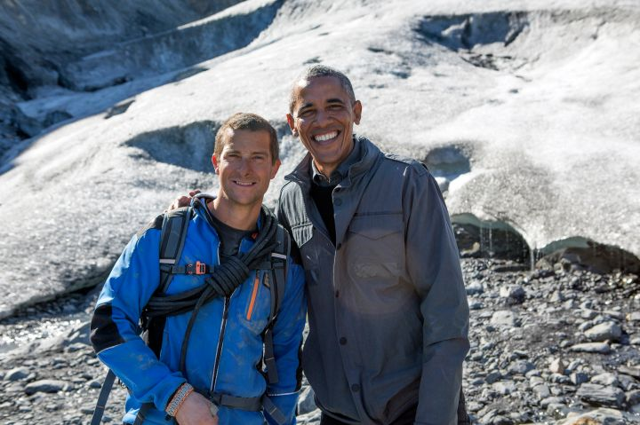 "SEPTEMBER: President Obama is featured on the popular show ""Running Wild With Bear Grylls."" Obama took the trip to highlight the importance of climate control."