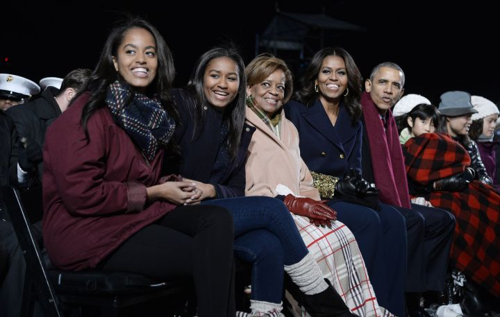 DECEMBER: All grown up! The First Family, including Obama's mother-in-law Marian Robinson, is seen at the White House's national Christmas tree lighting ceremony on Dec. 2.
