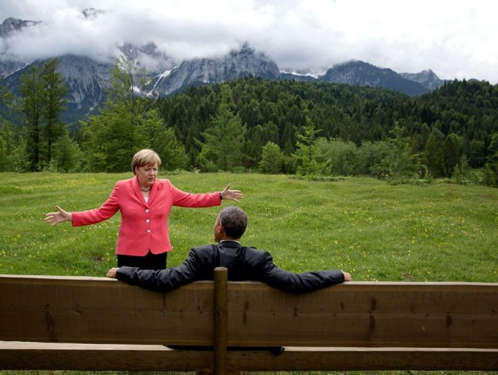 JUNE: President Obama and German Chancellor Angela Merkel are seen talking during the president's trip to the G7Summit in Bavaria, Germany.