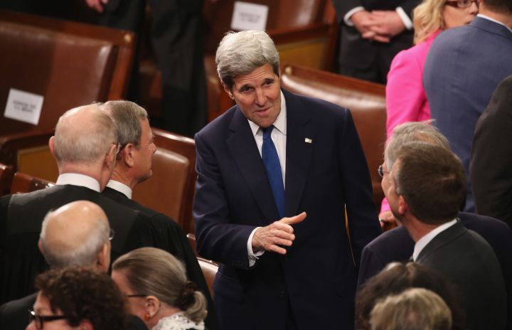 US Secretary of State John Kerry arrives at Capitol Hill for President Obama's final State of the Union address.
