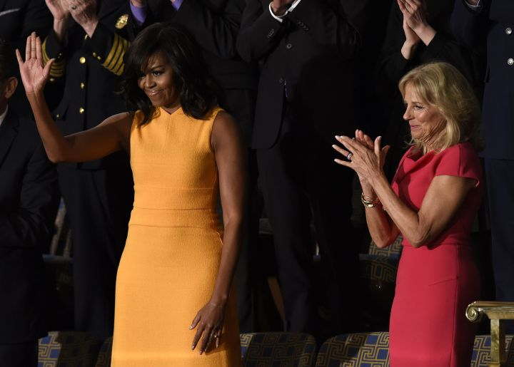 First Lady Michelle Obama and Jill Biden greet the crowd before the State of the Union address.
