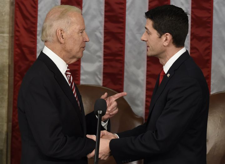 Vice President Joe Biden and House Speaker Paul Ryan greet at President Obama's final State of the Union address.