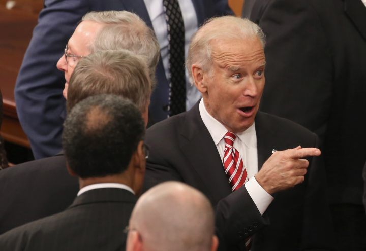 Biden gives one last classic greeting to fellow politicians on Capitol Hill.
