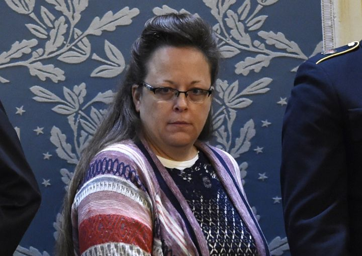 Kim Davis gives a poker face prior to Obama's arrival at Capitol Hill.
