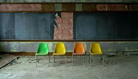 4 chairs-St. Albertus School 1917-Detroit