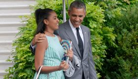 President Barack Obama and daughter Sasha depart the White House- DC