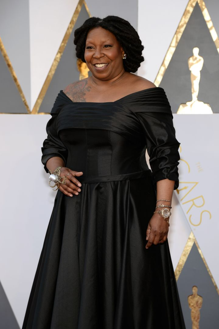 Whoopi Goldberg, First Black Woman to Win EGOT (Academy Award, 1990), (Emmy, 2002 & 2009), (Grammy, 1985) and (Tony, 2002)
