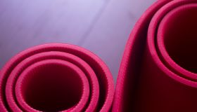 Red gym aerobics pilates yoga exercise mats